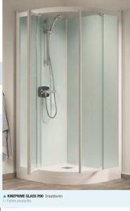 Kinedo Kineprime glass kwartr.cabine 90 schuif+thermostaat douchebak 9cm., wit-helder - CA762TTN
